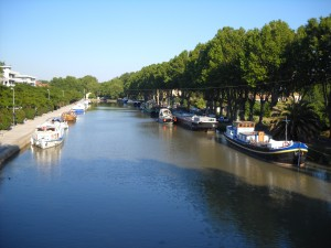 Canal du Midi port by Beziers, France